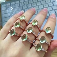 [Meibapj Klassieke Eenvoudige Natuurlijke Prehniet Edelsteen Fashion Ring Voor Vrouwen Echt 925 Sterling Zilveren Charm Fine Jewelry