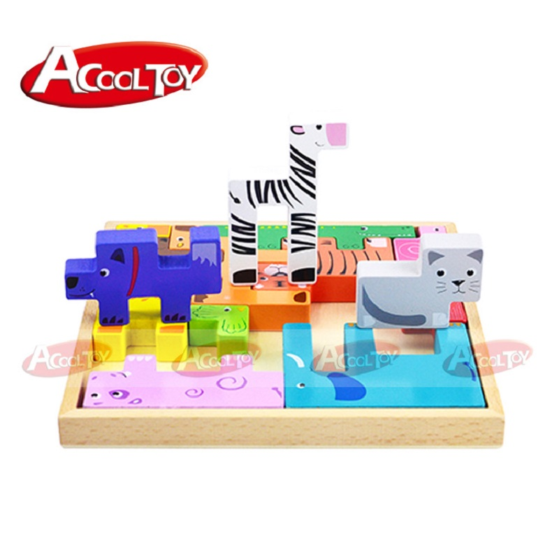 Toys Wooden Blocks Assembling Geometric Shape Animal Blocks Creativity for Kids Educational Toys For Children Play with Friends baby diy learning colors geometric assembling blocks durable wooden jigsaw kids children educational toys set zs064