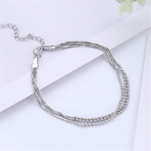 personality designer three layers bead chain bracelet box 925 sterling sliver multi-layers women simple SL171