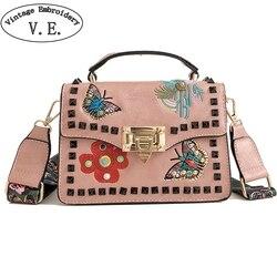 Сумка-тоут с цветочной вышивкой и бабочкой, женская новая сумка с заклепками на одно плечо, сумка-мессенджер с пряжкой, дорожная пляжная мал...