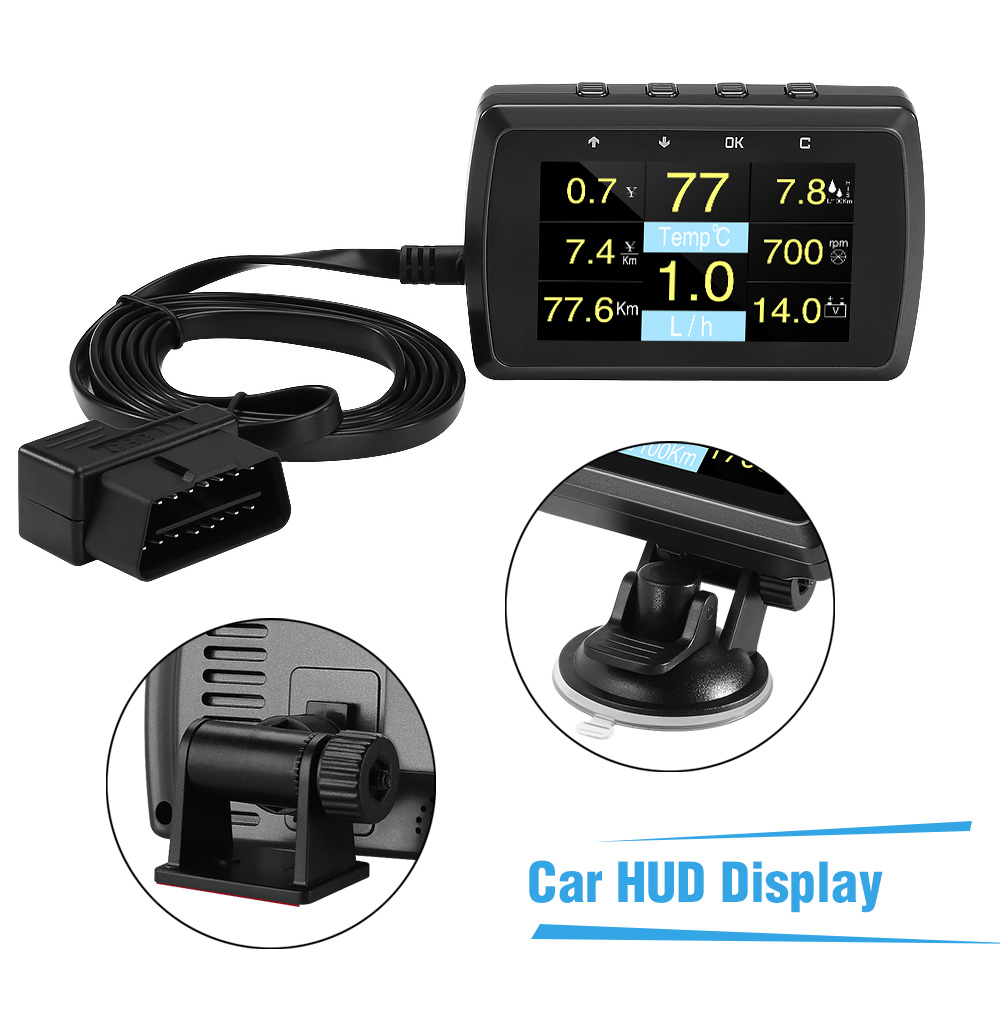 Image 2 - HUD Head Up Display A501C OBD2 On board Computer For Car Fuel Consumption Temperature Meter Speedometer OBD 2 HUD Display-in Head-up Display from Automobiles & Motorcycles