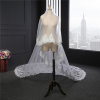 Cathedral Wedding Veil Lace Applique Edge One Layer Bridal Veil Long Veils Wedding Accessories