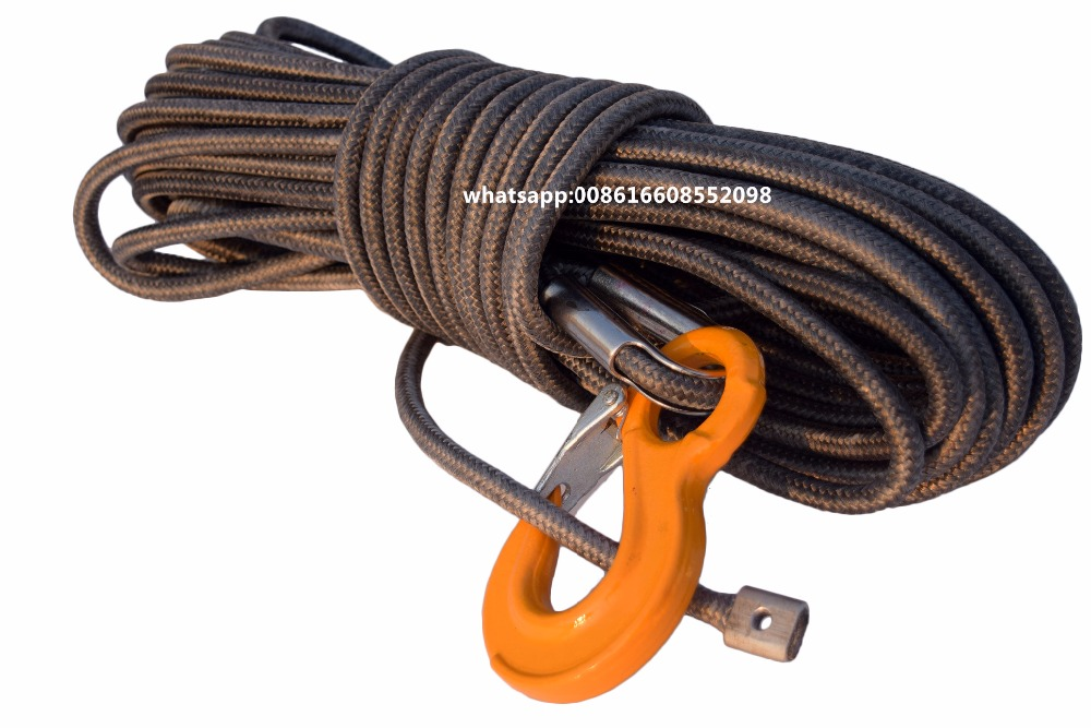 Free Shipping Grey 12mm 30m Synthetic Winch Cable Rope UHMWPE Core with UHMWPE Boat Winch Cable