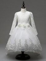 Sparkling Cekinami Asymetryczna Pociąg Gówna Chrzest Dziewczynki Księżniczka Biały Suknie Ślubne z Długim Rękawem dla Dzieci