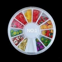 Hot 3d Polymer Clay Tiny Art Nail Fimo Fruit Slicing Wheel,5mm 120pcs/lot DIY Mix Design Nail Sticker Decorations