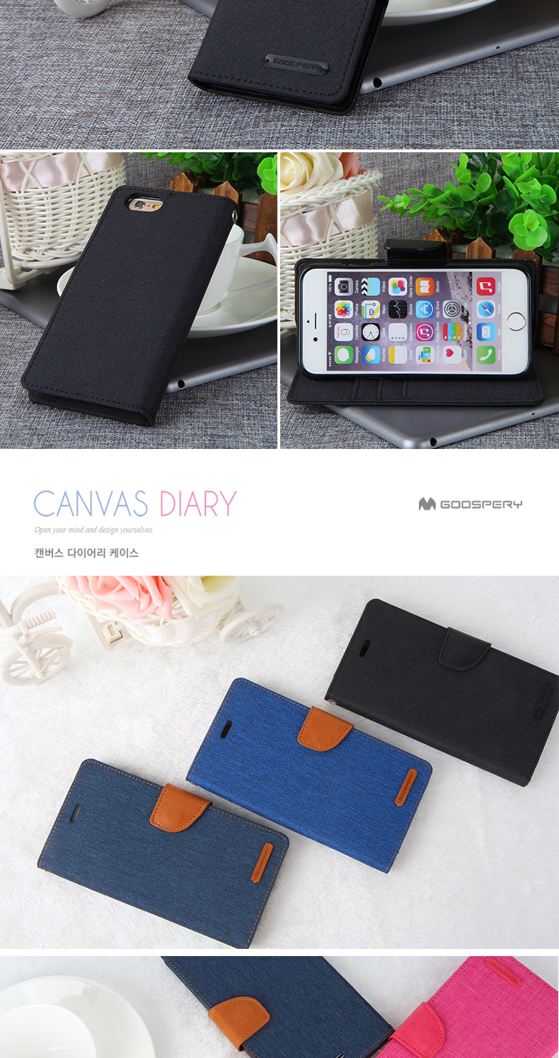 Mercury Goospery Canvas Diary Flip Wallet Leather Stand Phone Cases Samsung Galaxy S6 Case Navy Product Description