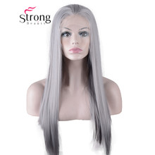 StrongBeauty Long Straight Lace Front Wig Free Part Heat Res