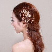 Elegant Crystal Gold Rhinestone Bridal Hair Combs Handmade Tiara Floral Design Tassel Headband Wedding Hair Accessories Jewelry