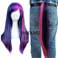 My Little Pony Twilight Sparkle Cosplay Anime Wig +Chip Ponytail + Wig Cap Free