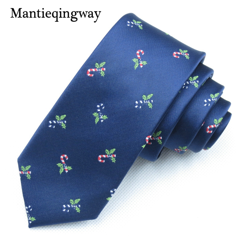 Mantieqingway Brand Christmas Tie Mens Polyester Neckties Small Bell Ties for Wedding Business Suits Neck Tie Gravata Corbatas