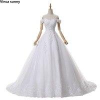 Elegantes vestidos de novia 2017 vestido de novia de la bola de la manga casquillo Princesa boda vestidos de mariage brautkleid de bata blanca