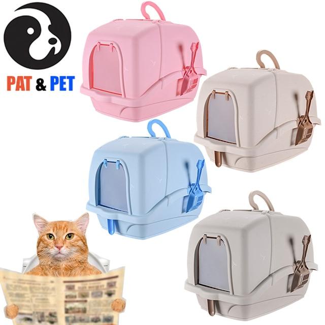 صندوق نفايات القط حجم كبير ، سهلة التنظيف مرحاض القطط المغلقة تماما ، والحد من مبعثر القمامة تصل إلى 95% ، ث/مجرفة ودواسة استنزاف الرمال