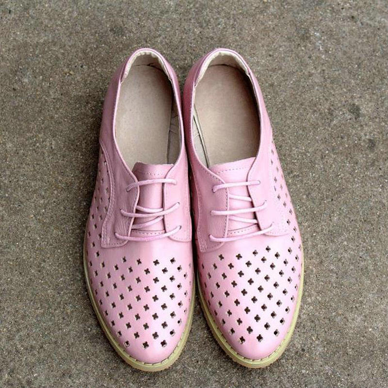 Summer New Pink Hollow Flats Round Toe Leather Shoes Breathable Black Low heeled Cross Straps Bullock