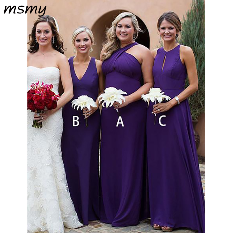 Simple Elegant A-Line Chiffion   Bridesmaid     Dresses   Pleat Sleeveless Cheap Long   Bridesmaid     Dresses   Custom Made