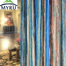 MYRU Luxury high-grade Italy velvet curtain semi shade cloth curtains multi colored stripes curtains for bedroom and living room