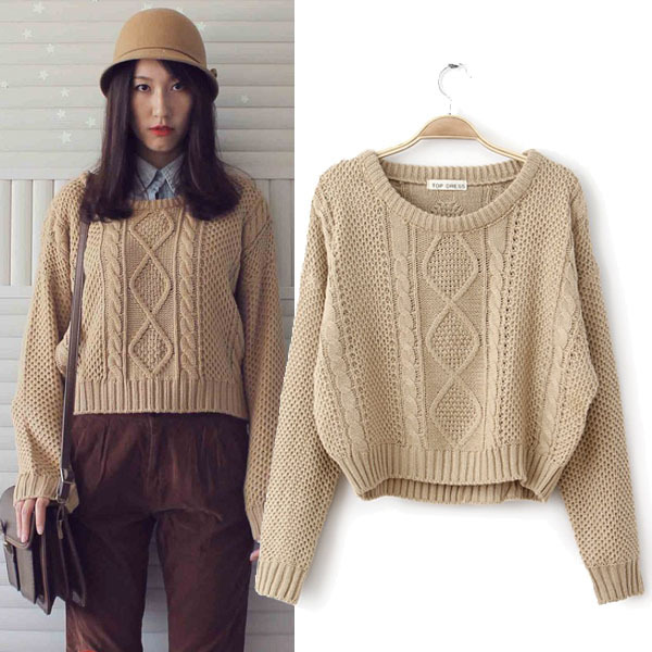 New Women Hot Retro Twist Round Neck Knitted Pullover Jumper Loose ...