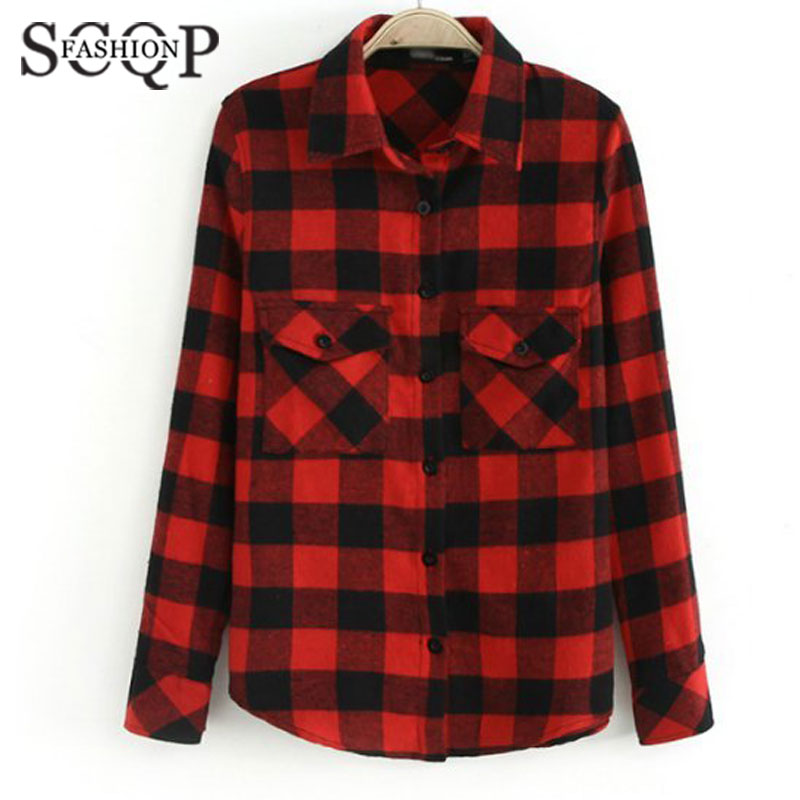Popular Womens Red Plaid Flannel Shirt-Buy Cheap Womens Red Plaid ...