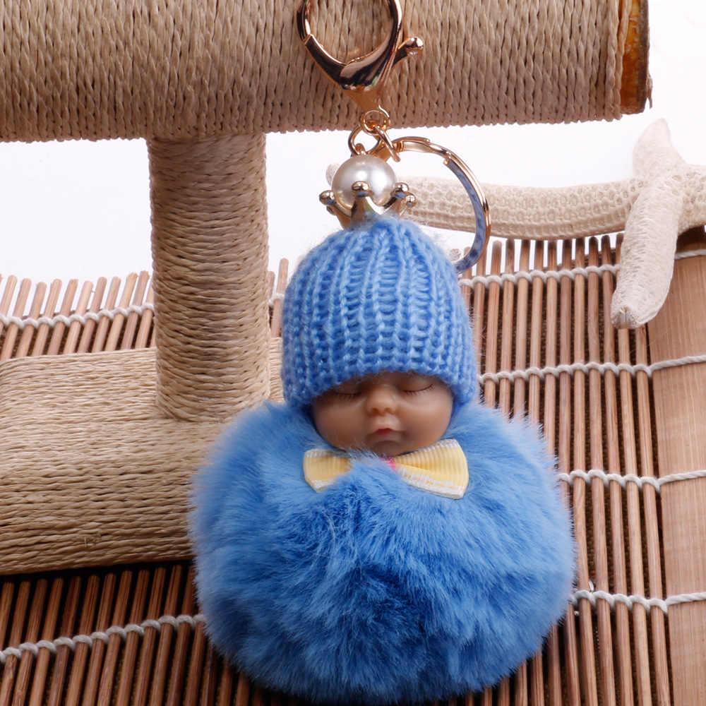Симпатичные Перл Корона пушистый лук галстук спящего ребенка брелок пом мех кролика мяч брелок автомобиль Для женщин брелок держатель мешка кулон
