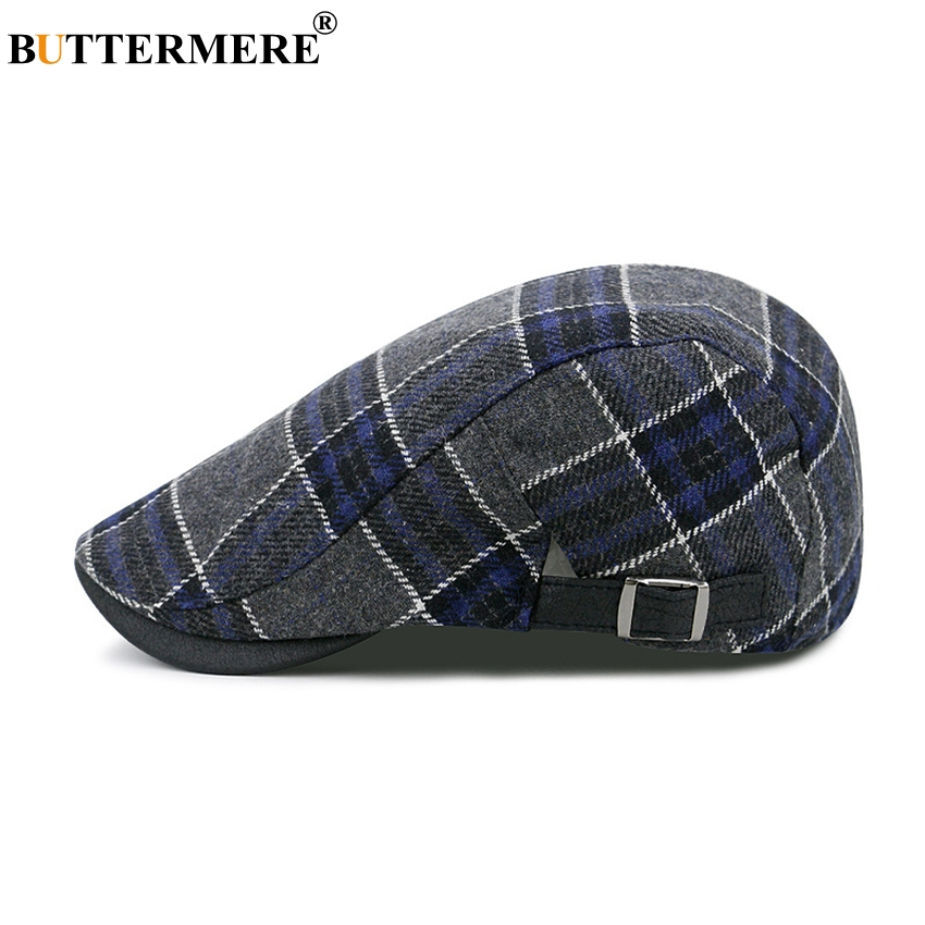 BUTTERMERE Plaid Beret For Men Cotton Casual Female Ivy Duckbill Hat Spring Adjustable Vintage British Style Beret Flat Cap Male