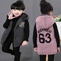 Crianças Colete 2016 meninas Colete Outono E Inverno Crianças Outerwear Criança Coreano Engrossar Coletes À Prova de Colete Além de Veludo Com Capuz Quente