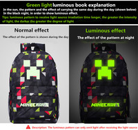 2017 Newest Royal Oxford Minecraft Glowing School Bag Travel Leisure Bag Bts Back To School Vance