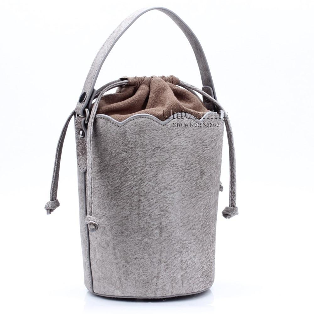 ФОТО UniCalling fashion dull polish real cow leather bucket bag women genuine leather drawstring bucket bag shoulder bag 4 colors