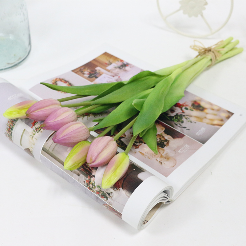 JAROWN Simulation Of Real Tactile Tulip Artificial High Quality Latex Tulip Bouquet Flores For Wedding Decoration Home Decor (11)