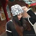 Mujeres Año Nuevo Carta Impresión de Algodón Elástico Caliente del Invierno de Esquí Sombrero Con el Oído de Cobertura Ajustable Hip-Hop Navidad Mamá Bombardero Sombreros