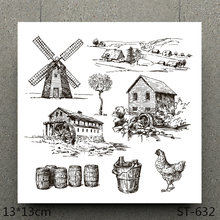 AZSG Dutch windmill / Country life Clear Stamps For Scrapbooking DIY Clip Art /Card Making Decoration Crafts