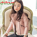 chifave New Arrival Autumn Winter Girls PU Jacket Fashion Girls Long Sleeve Zipper Coat Children Clothing Girls Warm Outwear