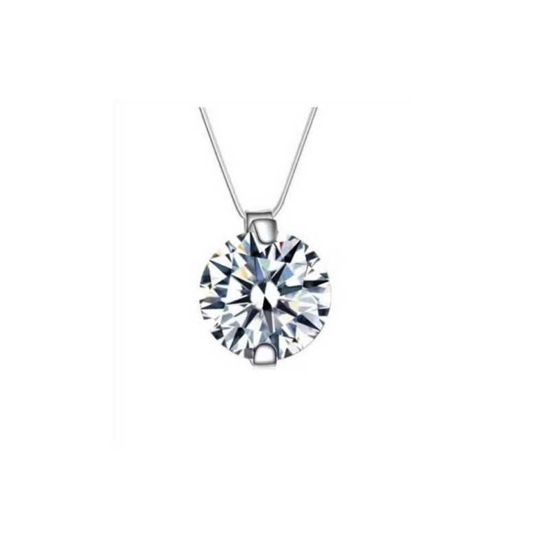 Moderno collar transparente de hilo de pescar, collar con colgante de circonita transparente, collar decorativo con diamantes de imitación de cristal para mujer, gran oferta W3