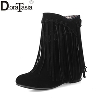 DoraTasia 2017 4 Colors Big Size 34 43 Women Shoes Woman Fringe Autumn Winter Boots Fashion