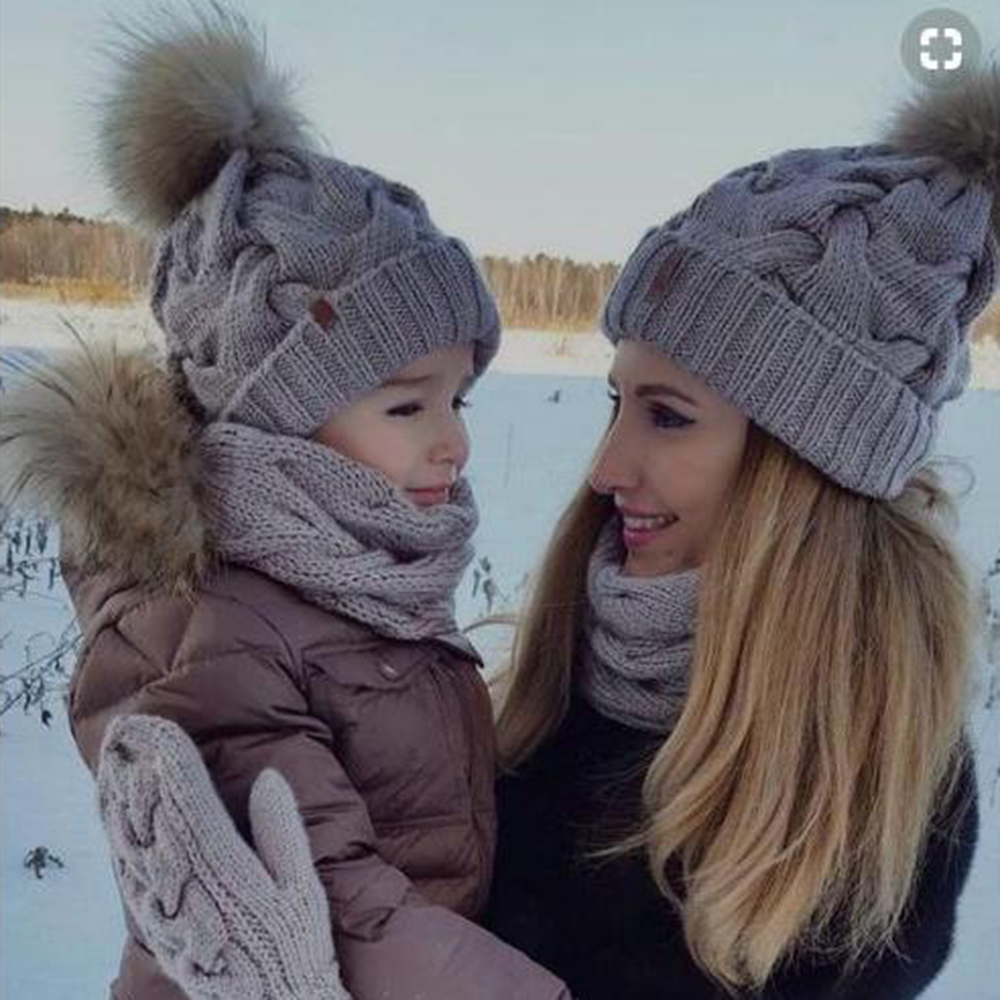 2Pcs Mom Baby Fur Pompom Hats Warm Winter Crochet Knit Wool Solid Color Beanie Caps For Women Boys Girls Matching Hats