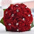3 cores da flor de Rosa branco Vermelho Rosa Cor do vestido de Noiva Da Dama de honra buquê de casamento flor rosa artificial bouquets de noiva de cristal