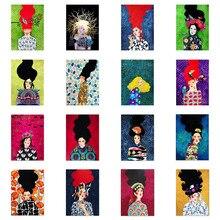 Pintura arte de la pared del pájaro de la flor del pelo de la muchacha abstracta 5D colorido nórdico DIY diamante bordado Vintage imágenes arte niños regalo