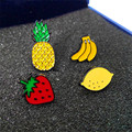 Fashion Cute Cartoon Pineapple Strawberry Banana Fruit Alloy Enamel Stud Earrings For Women Girl Gift Children