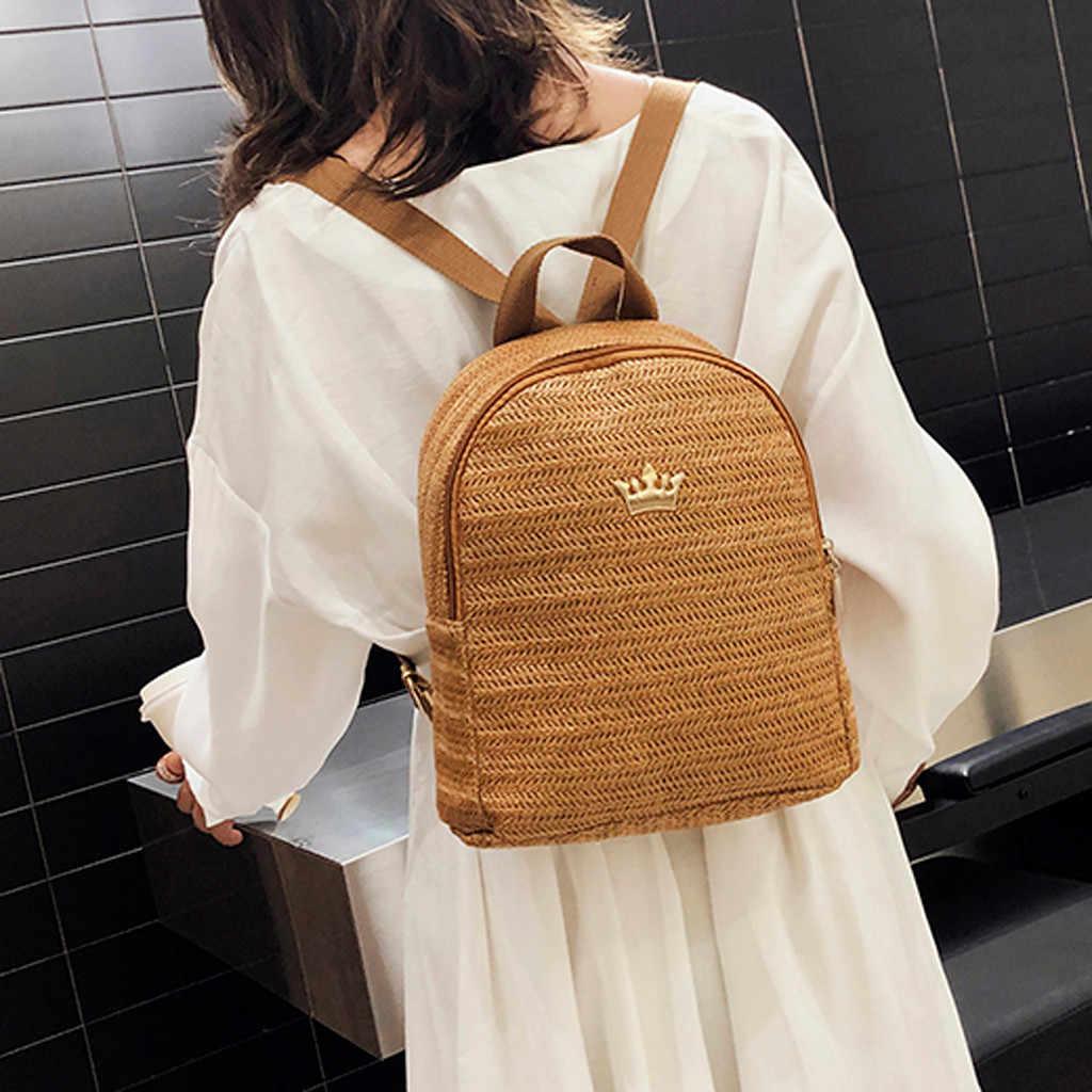 Xiniu Для женщин тканые рюкзак школьный портфель из ротанга сумка для школьников школьные сумки для девочек подростков летние пляжные сумки путешествия мини рюкзак #0618