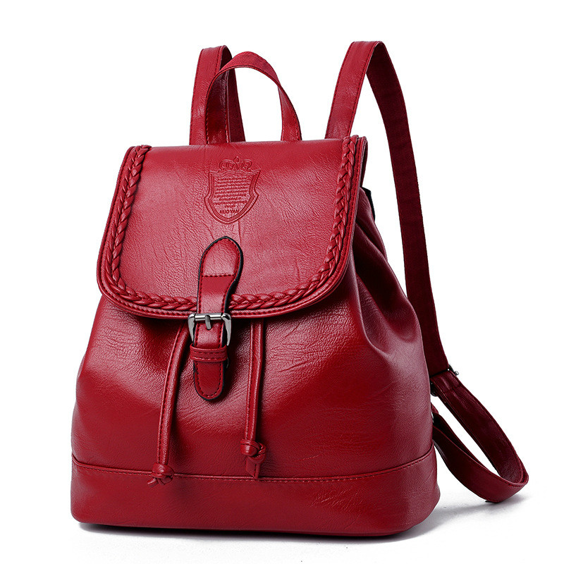 2017 New Arrivals Female Bags Concise Leisure Fashion Vintage Style Ladies Backpacks Solid Color Wine Red