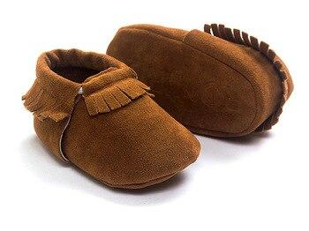 Newborn Baby Boy Girl PU Suede Moccasins Soft Shoes Fringe Soft Soled First Walker 1