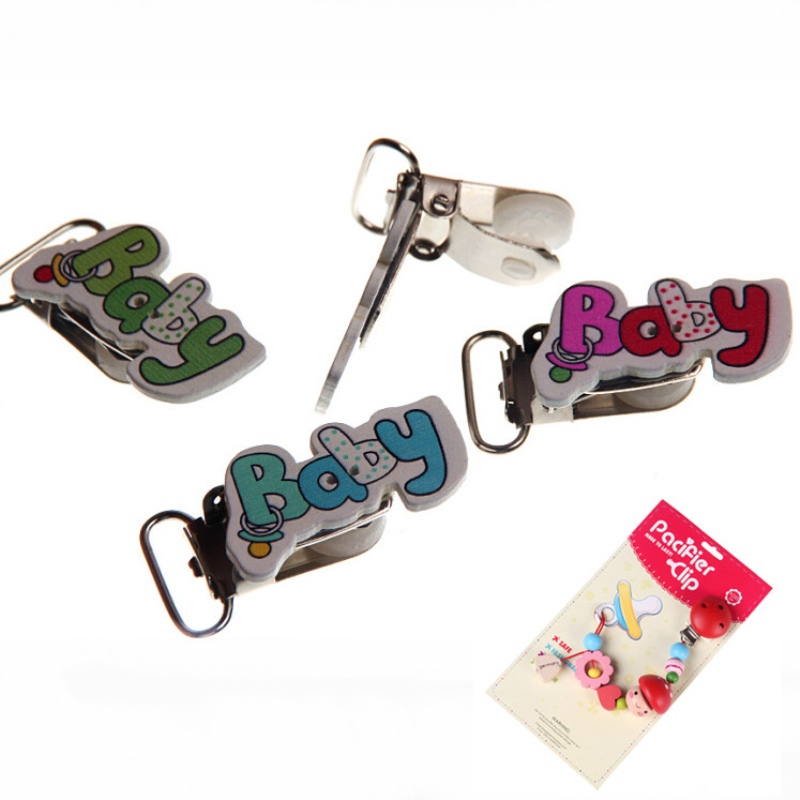 5Pcs Mixed Baby Pattern Handmade Wood Baby Pacifier Clip Wood Metal Holders Infant jewelry findings & components Diy