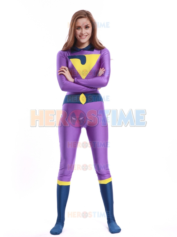 The Wonder Twins Jayna Costume spandex fullbody superhero halloween cosplay zentai suit free shipping