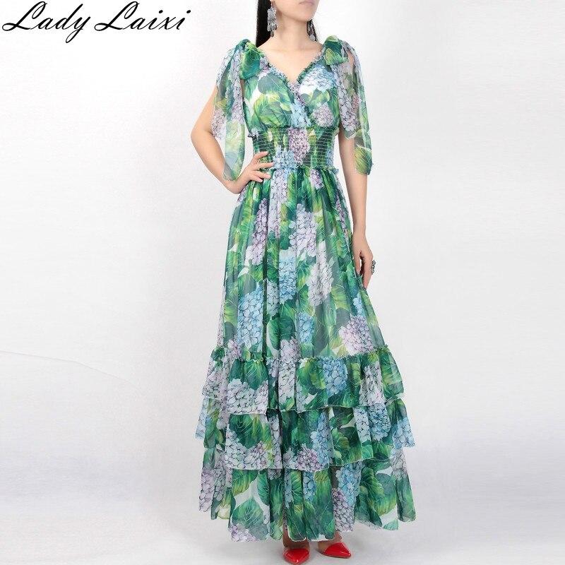 2019 nouvelle robe de piste d'été femmes feuilles vertes imprimé Floral taille élastique bohème plage gâteau femmes sans manches longue robe