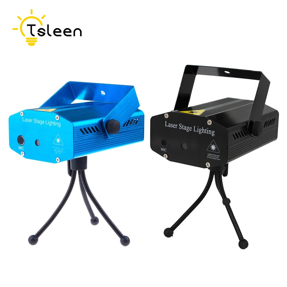 TSLEEN Cheap! 1PC Mini Stage Music Control LED Laser Projector Auto strobe voice-activated Christmas Party DJ Disco KTV Light rg mini 3 lens 24 patterns led laser projector stage lighting effect 3w blue for dj disco party club laser