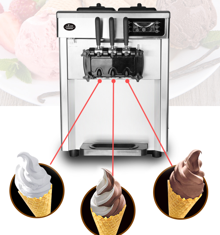 Commercial Ice Cream Maker Automatic Desktop Ice Cream Cone Machine Stainless Steel Soft Ice Cream Machine  CQ-8219 220V 2300W adiors long middle parting shaggy wavy color mix synthetic party wig