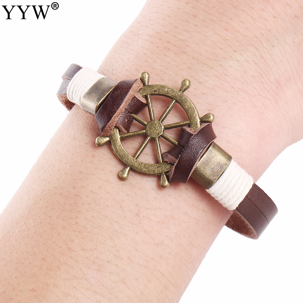 New Men Wristband Male ship boat Wheel Bracelets & Bangles with cowhide real leather vintage Braided Gothic Punk Style brown