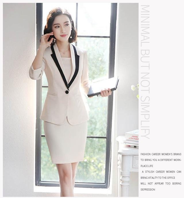Hot Ladies Dress Suit for Work Full Sleeve Blazer Sleeveless Dress 2 Pieces Set 27