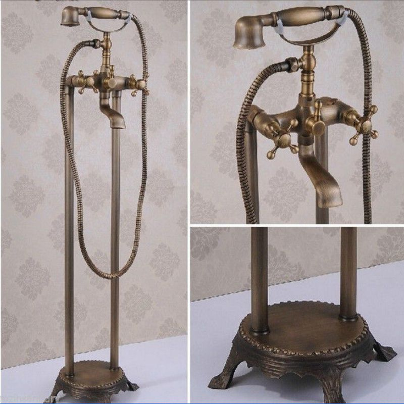 Wholesale And Retail  Floor Mounted Free Standing Antique Brass Bathtub Mixer Tap Faucet W/Hand Shower