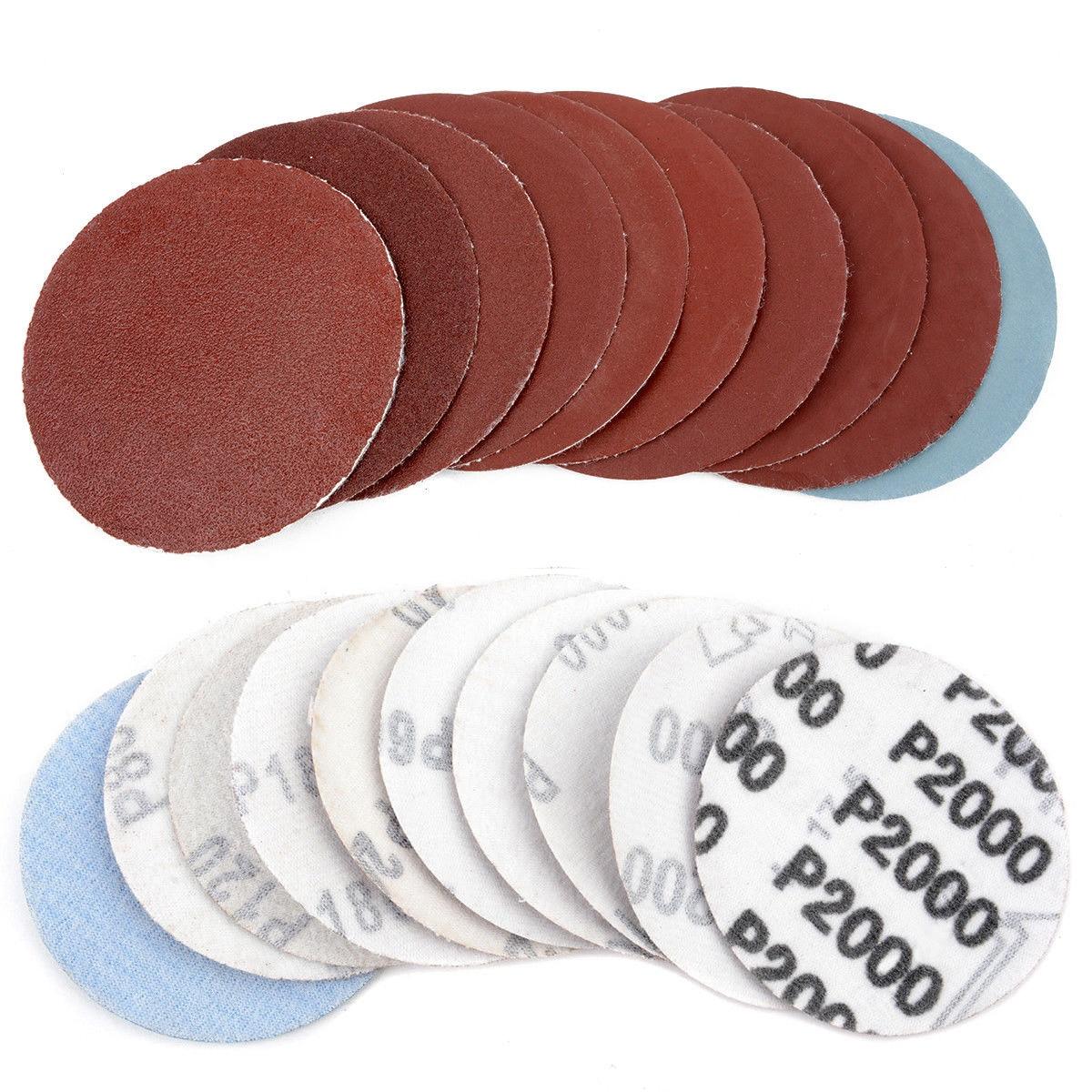 High Quality 100pcs/set 3 inches 75mm Mixed Sander Disc 80~3000 Grit Round Sanding Polishing Pad Sheets Sandpaper цена