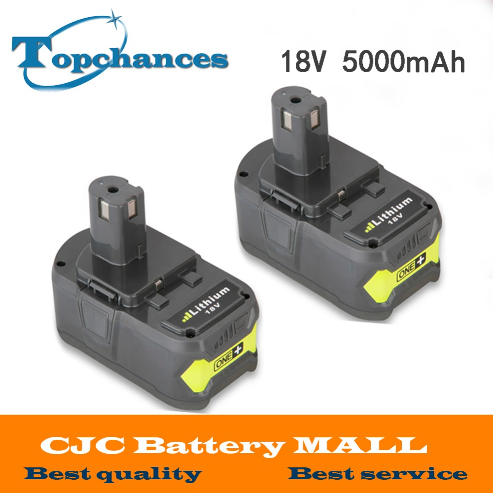 2x High Capacity New 18V 5000mAh Li-Ion For Ryobi Hot P108 RB18L40 Rechargeable Battery Pack Power Tool Battery Ryobi ONE+ 2016 brand new original power tool battery fast chargers for ryobi 7 2v 20v ni cd li ion battery high quality