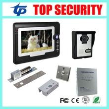 7 inch color screen video door phone door intercom wired door bell access control system+power supply+lock+bracket+exit button